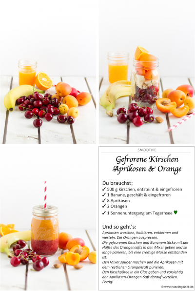 SMOOTHIE: Gefrorene Kirschen, Aprikosen & Orange