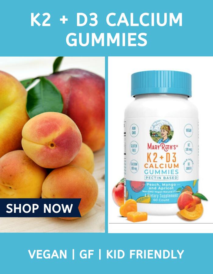 K2 D3 Calcium Gummies 60 Count In 2020 Vegan Vitamins Gluten Free Kids Gummies