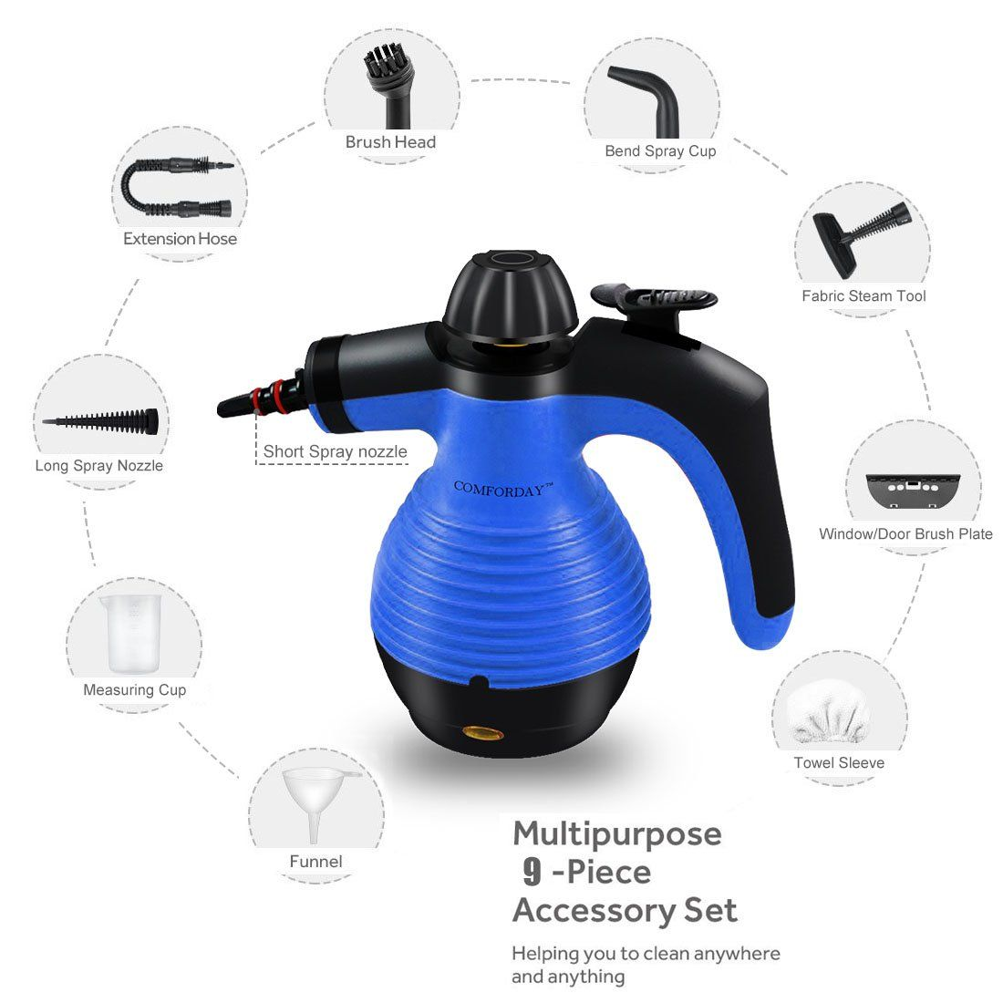 Comforday Multipurpose Steam Cleaner High Pressure Chemical Free