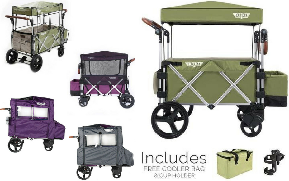 Keenz 7S Complete Stroller Wagon (Green) Rain Cover