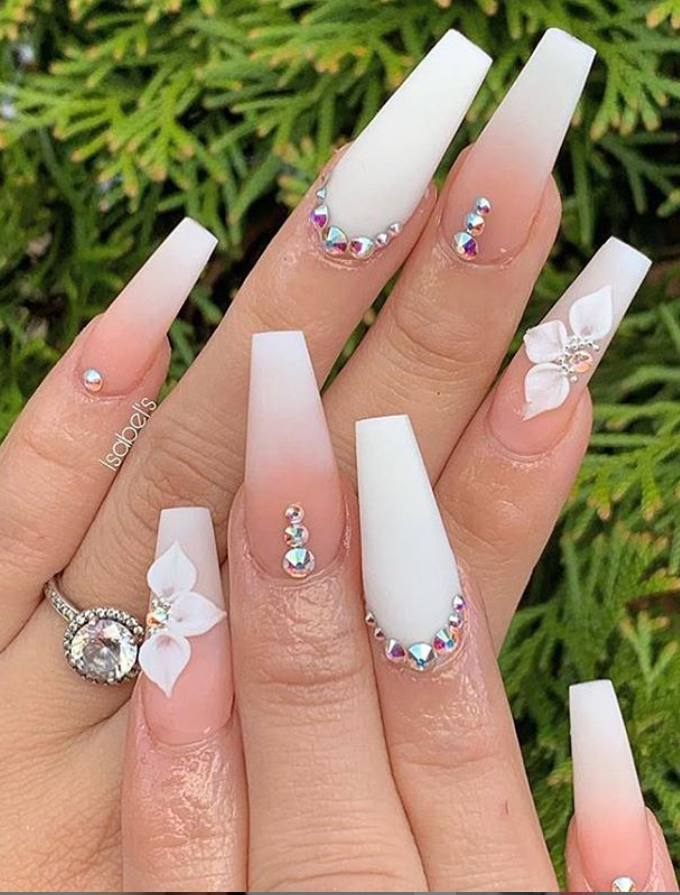 60 Bling Acrylic Coffin Nails Design With Rhinestones Nails Design With Rhinestones Ombre Nail Art Designs Rhinestone Nails