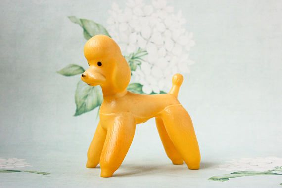 Vintage Poodle Squeaky Toy 1960 S Yellow Rubber Dog Toy