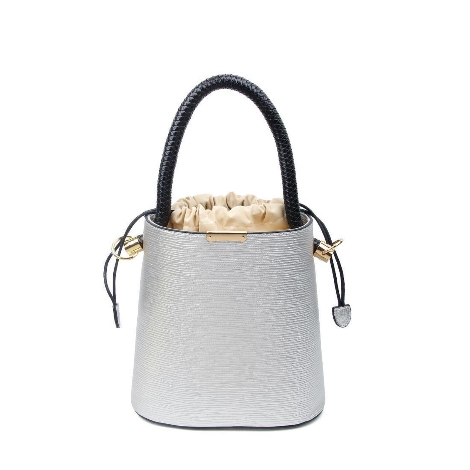 OBC stylische Damen Tasche Bucket Bag Hobo Handtasche Henkeltasche Boho rockig Silber