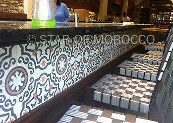 Our casablanca cement tile installed under the bar area of for Arabesque lebanon cuisine