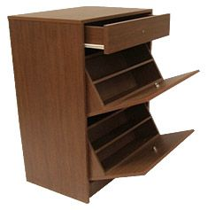 Zapatera 3 cajones 60x40x100 cm nogal shoe rack for Zapateras de madera