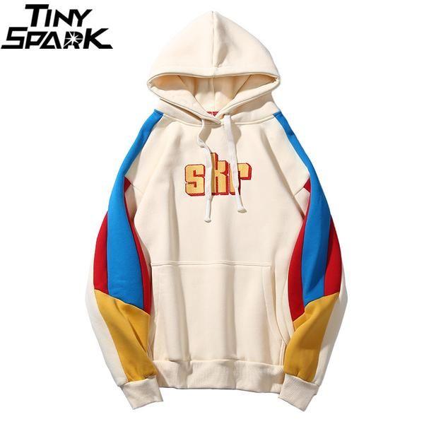 882a1b495c1 Men Harajuku Hoodie Sweatshirt Hip Hop Retro Color Block Streetwear  Embroidery Hooded Pullover Fleece Cotton Autumn…  Discounts  BestPrice