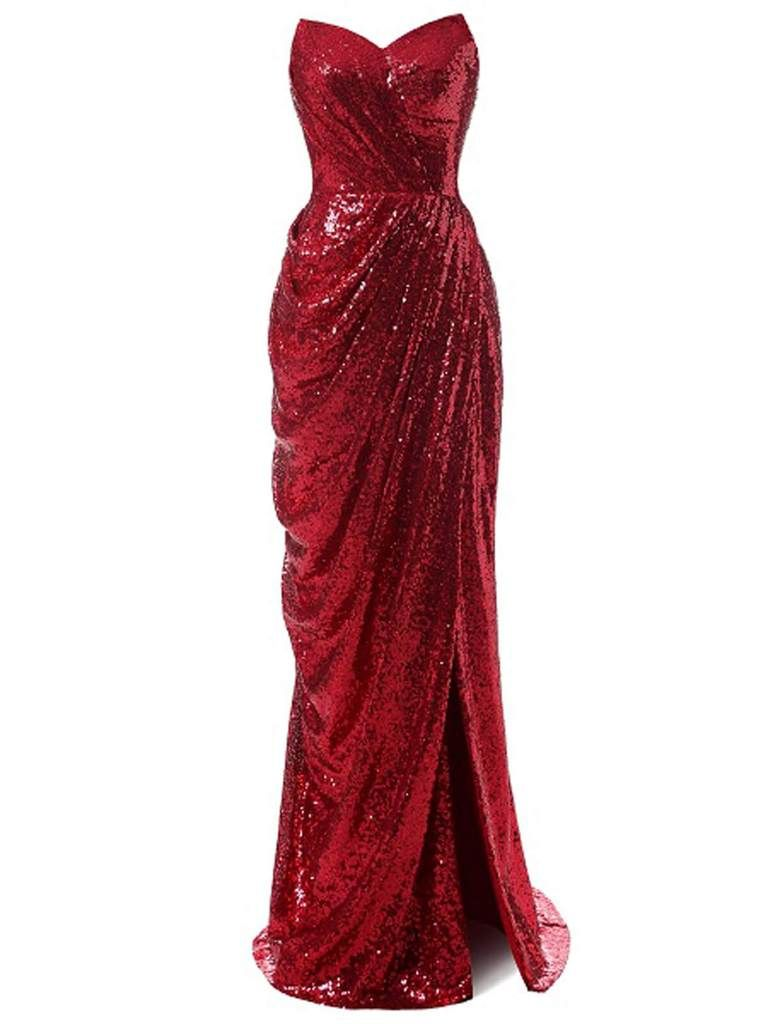Strapless Sequin Bridesmaid Dress Red Prom Dress Long Red Prom Dress Red Sequin Dress [ 1024 x 768 Pixel ]