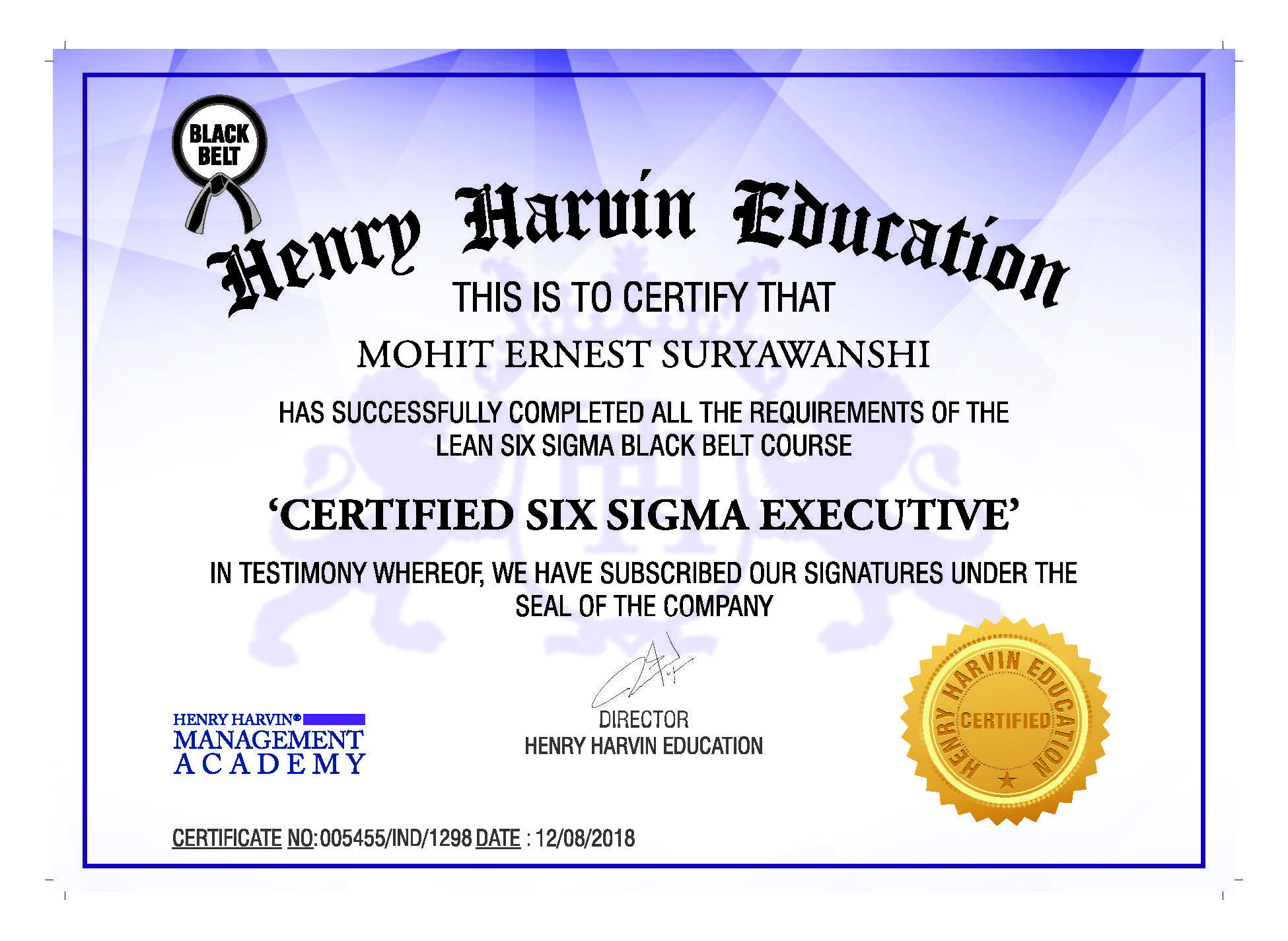 Congratulations Mohit You Have Completed Lean Six Sigma Black Belt
