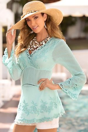 Lace embroidered tunic top