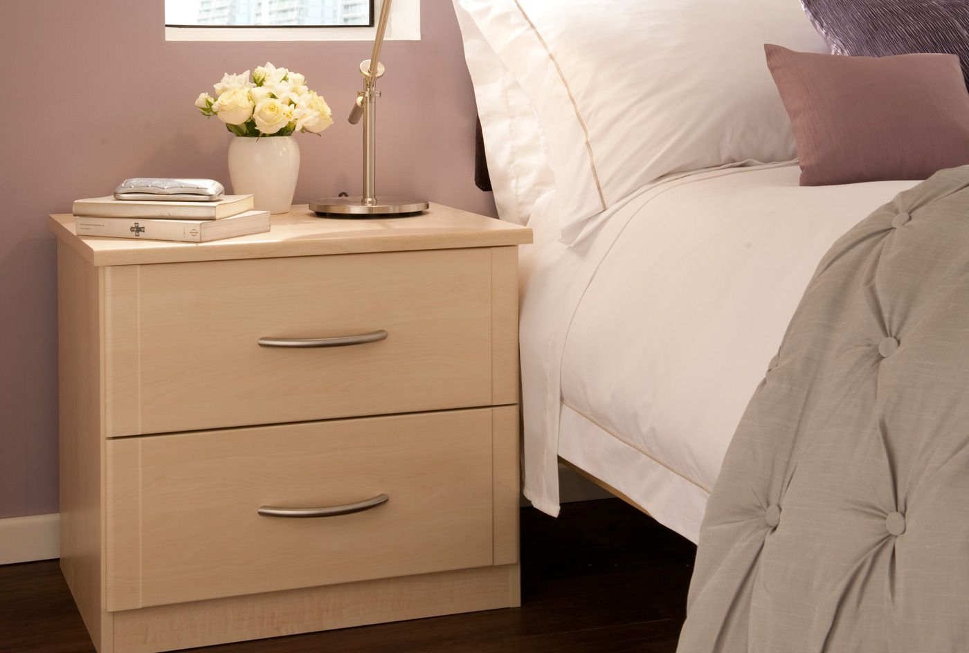 Sharps Fitted Bedroom Furniture Bedside Table With A Maple Finish From The Milan Bedroom Furniture