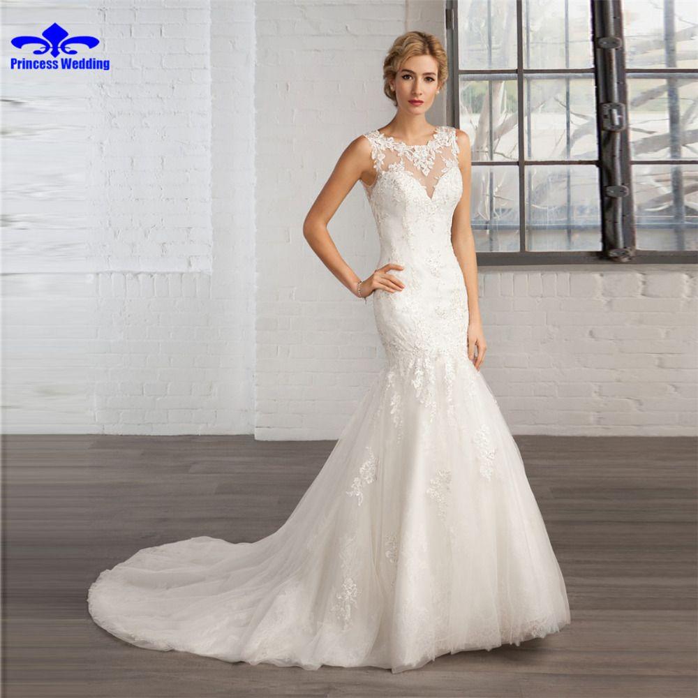 Lace sleeve mermaid wedding dress  New Arrival Cap Sleeve Button Mermaid Wedding Dress  Gorgeous