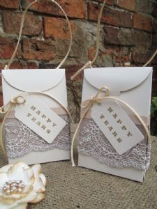 2  Vintage Hankie Box & Cotton Hankie For Your Happy Tears Ivory Card & Lace Gift