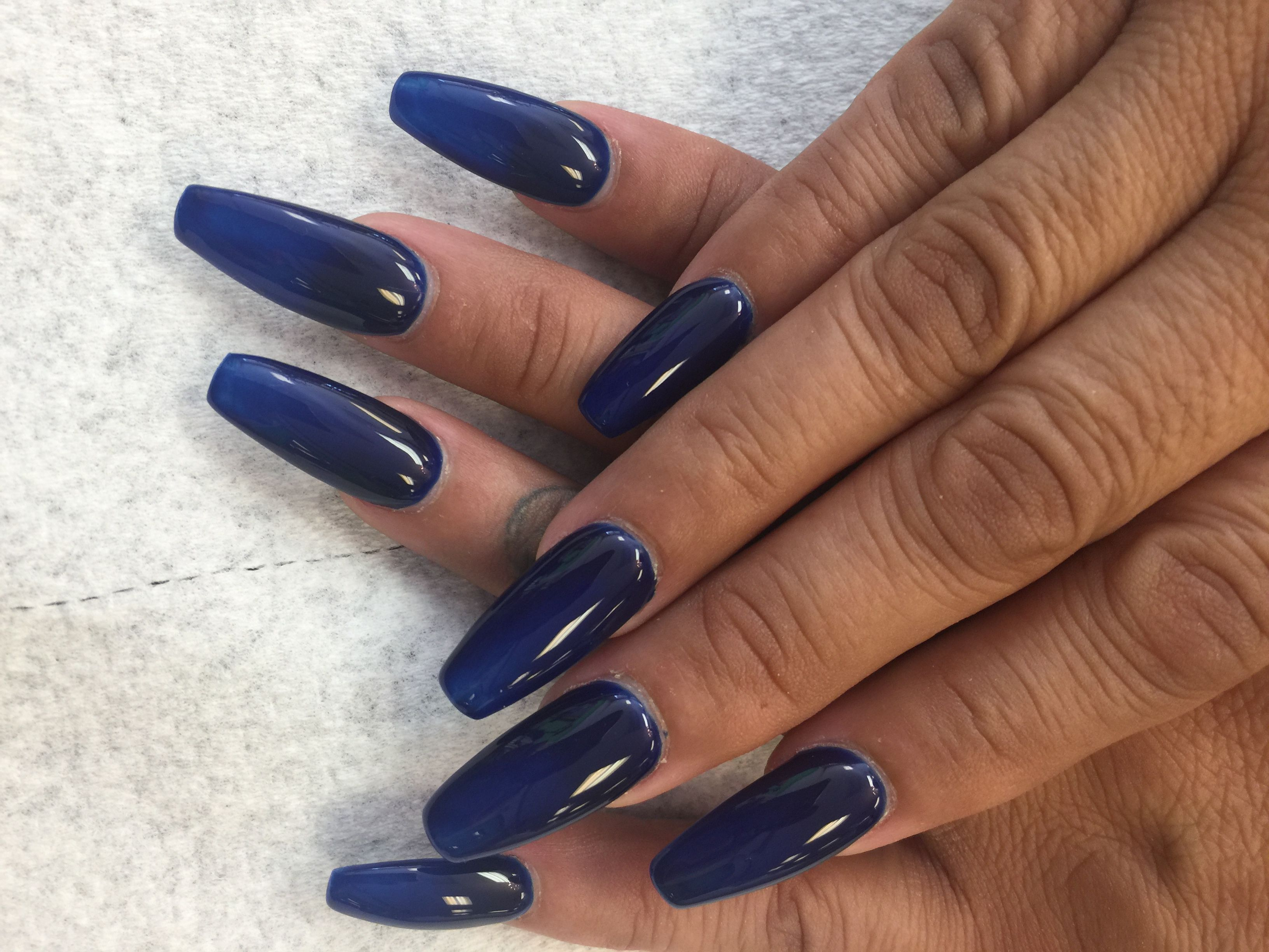 Beautiful Navy Blue Coffin Nails