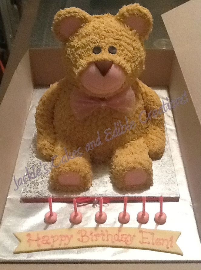 "Birthday Cake Photos - My very first ""Teddy"" made it a Beary Happy Birthday for a little girl . It was all chocolate,covered in fondant and piped fur."