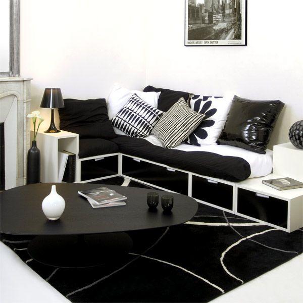 Espace loggia lit mezzanine banquette brick NB sofa canape meuble ...