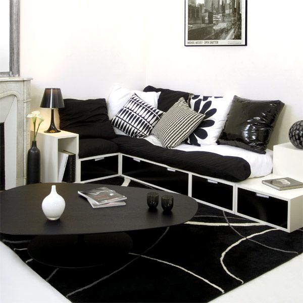 espace loggia lit mezzanine banquette brick nb sofa canape meuble contemporain design gain de