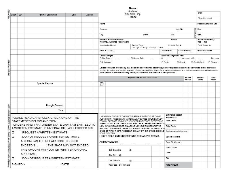 ABPS Business Froms Automotive Repair Order Template Legal - Florida auto repair invoice