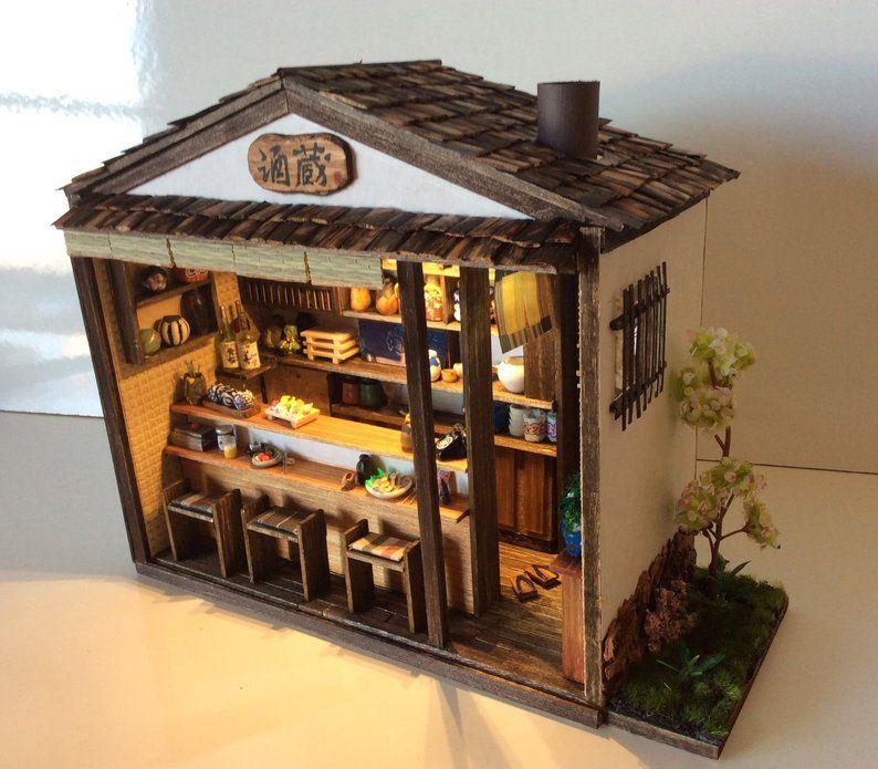 Simon J Miniature Room Box Japanese Restrauant Box Chambre Japonaise Maison Japonaise Feuille De Bananier