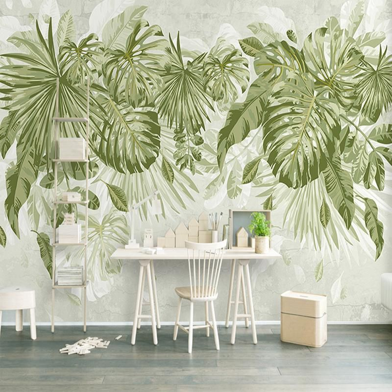 Grand Garden Mural Wallpaper M Bedroom Wallpaper Leaf Feature Wall Wallpaper Green Leaf Wallpaper