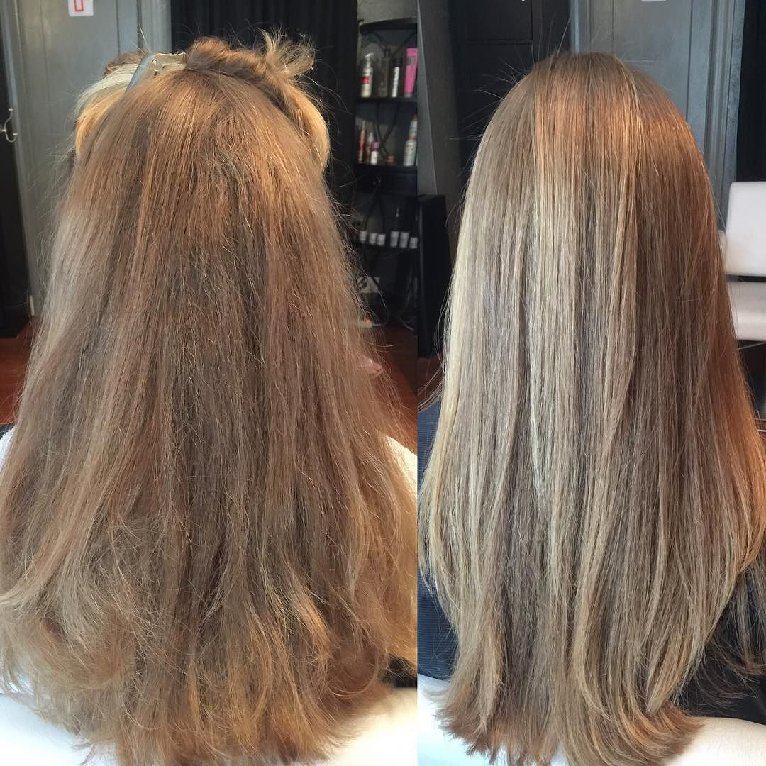 Before Left And After Right Of The Brazilian Blowout Smoothing Treatment