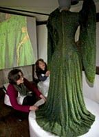 The beetle-winged gown of Ellen Terry as it is being restored (700 hours and ca. $150,000 from donations through the British National Trust).