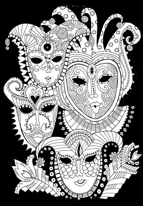 Coloriage Adulte Fond Noir.Masques Sur Fond Noir Coloriage Coloriage Masque Dessin
