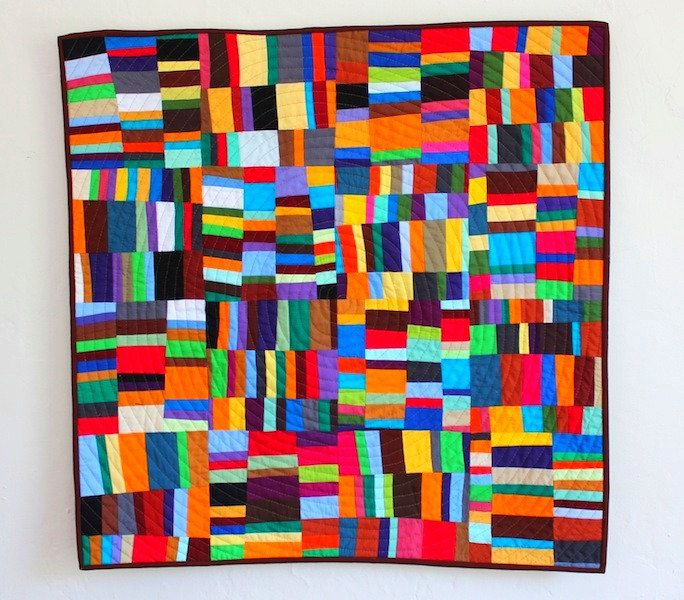 Modern Patchwork Baby Quilt or Wall Quilt - Improvisational Stacked Stripes Design. $150.00, via Etsy.