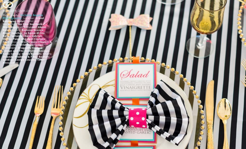 Black And White Striped Table Linens With Polka Dot Pop Photography By Victoria Angela