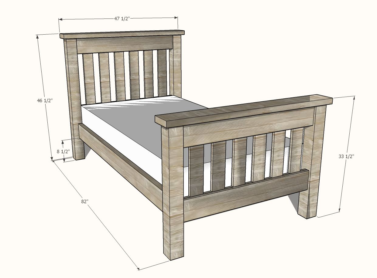 Simple Bed Twin Size   Simple bed, Diy twin bed frame, Diy twin bed