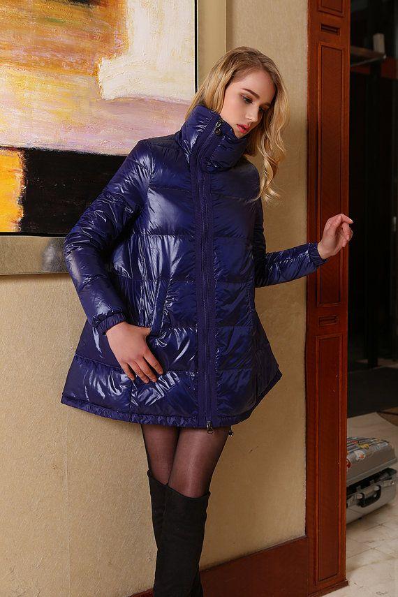 Womens Fashion Duck Down Jacket Warm Puffer Coat Purple Winter Outerwear Plus Size M L XL XXL