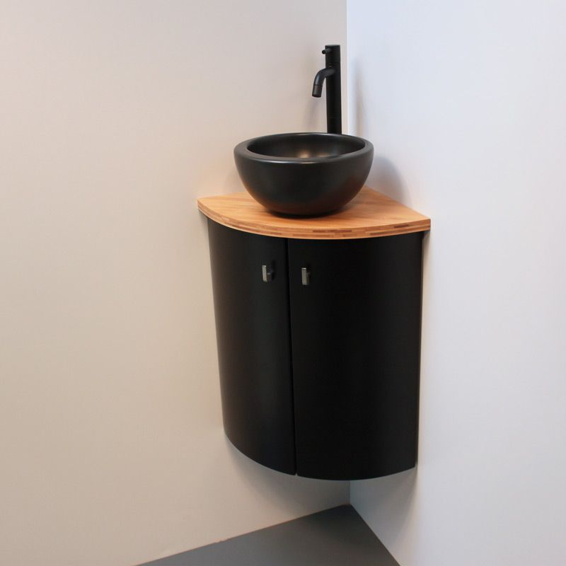 Lave Mains D Angle Design Bois Et Noir Deco Toilettes Decoration Toilettes Lave Main Angle