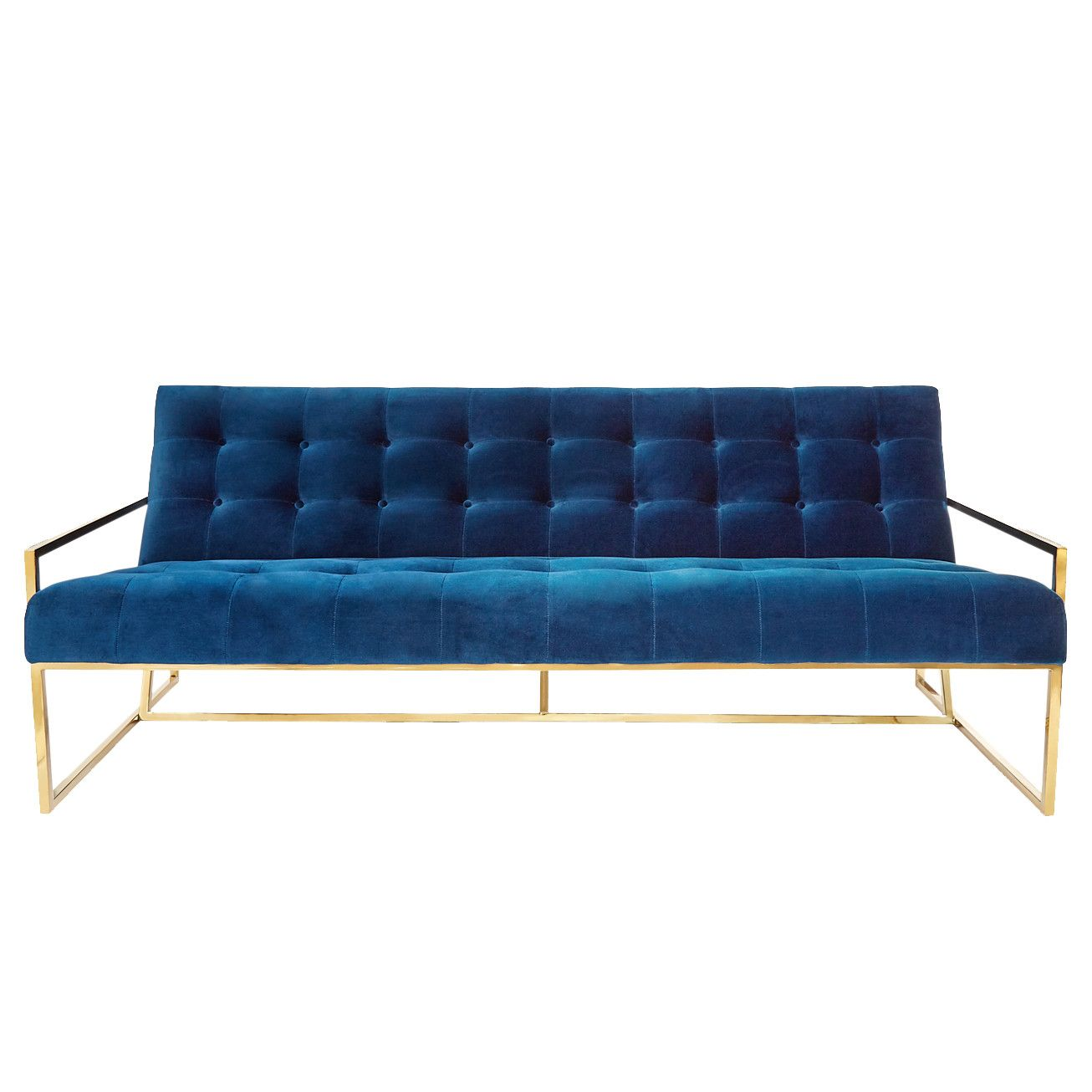 Broyhill Sofa By Jonathan Adler Pared down geometry in polished brass meets swanky navy velvet in our