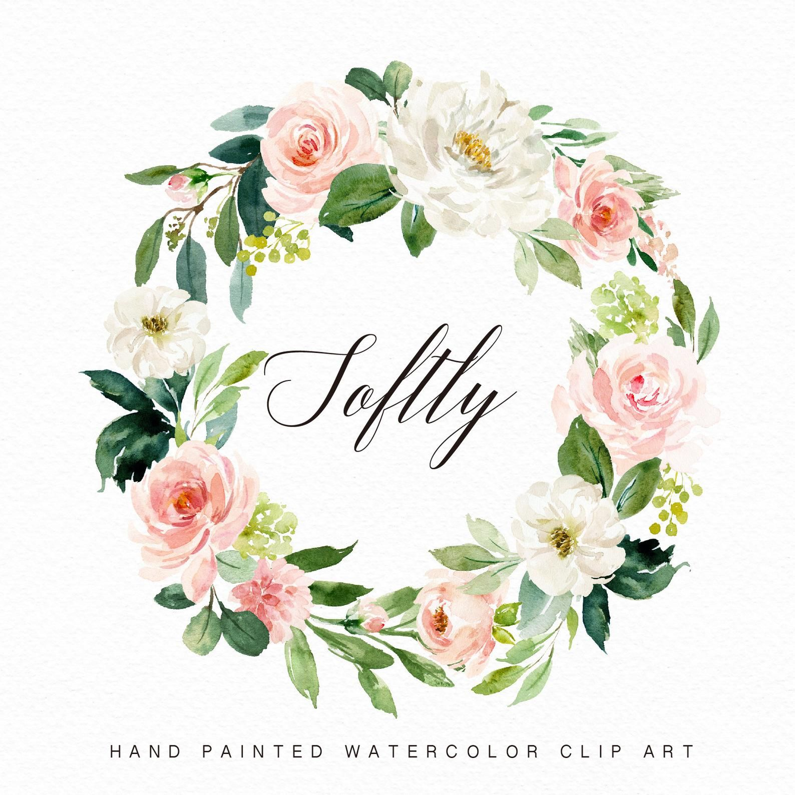 Watercolor Flower Wreath Softly Small Set Individual Png Etsy Watercolor Flower Wreath Watercolor Flowers Floral Wreath Watercolor