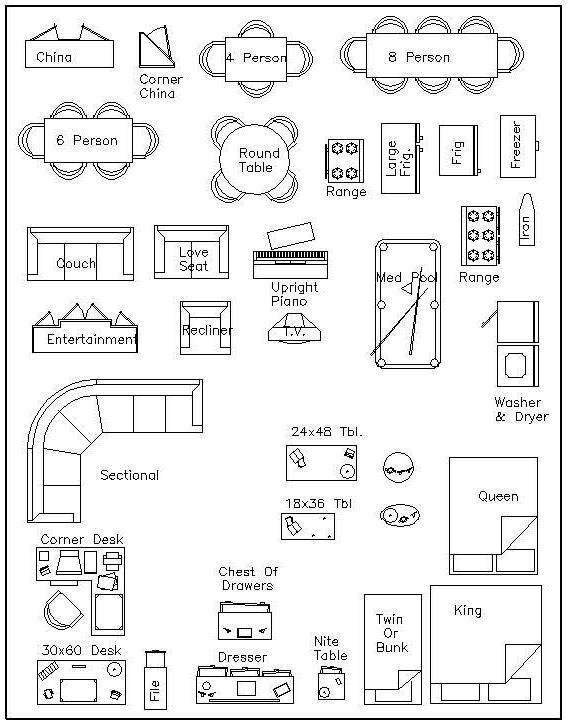 2 Templates Scale Furniture 1 Inch