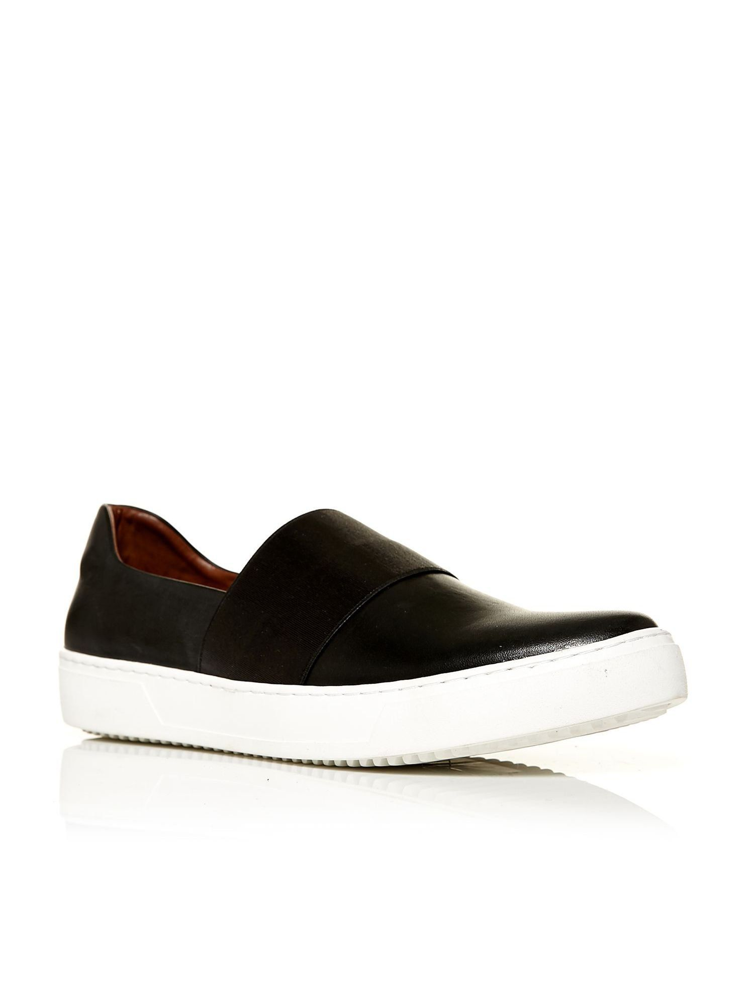 Slip on trainer style A line shoe with elastic front strap., LoafersLow and  Below)LeatherCombination of materialsFlat heelAlmond toeCasual Get the Moda  in ...