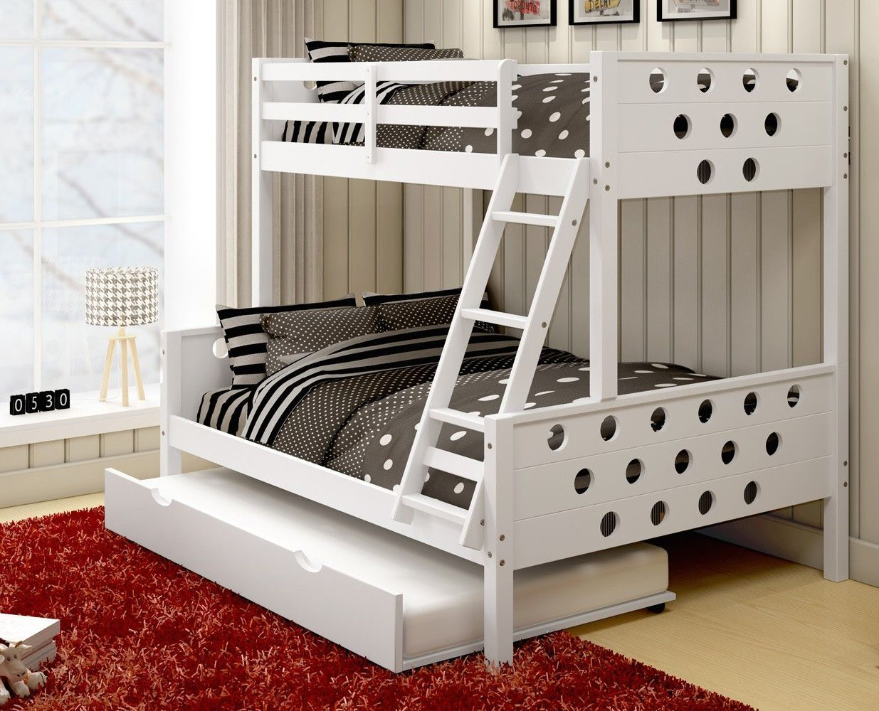 Our Twin Over Full Trundle Bunk Beds In White Feature A Fun