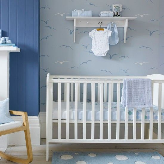 Child S Nursery With Seagull Patterned Wallpaper Boys Bedrooms