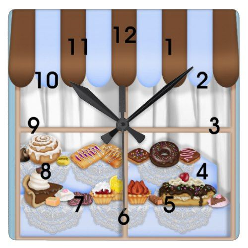 Cute Blue Brown Cupcake Sweet Bakery Square Wall Clock Sweet