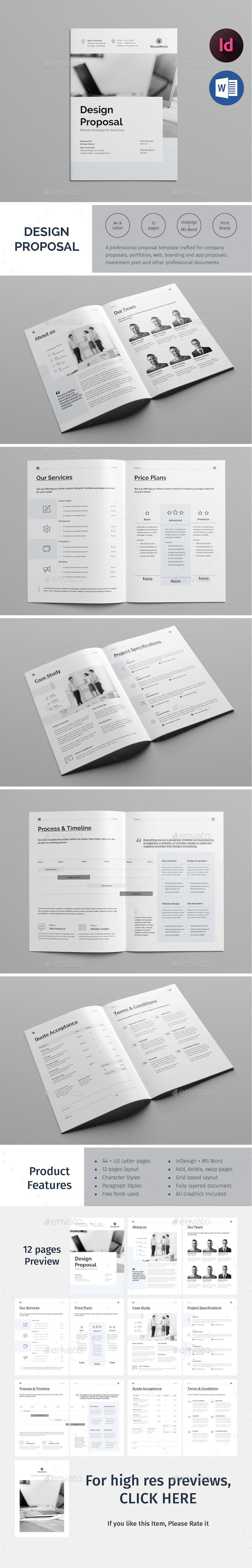 Design Proposal Brochure Template InDesign INDD - 12 Pages - A4 and ...