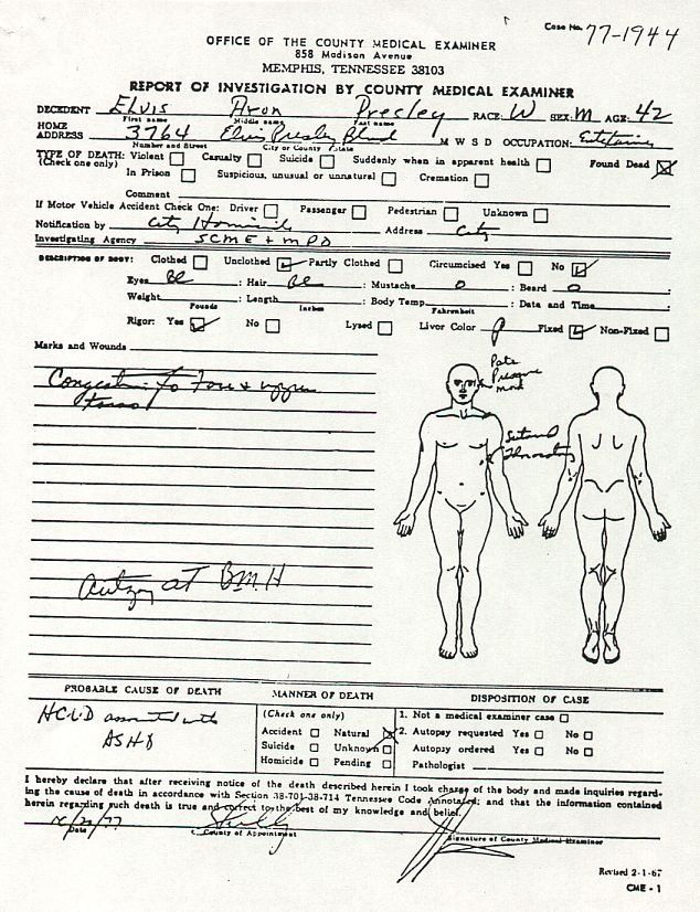 Dale Earnhardt Autopsy | Elvis\' Autopsy Report (Page 1 of 2) | Elvis ...