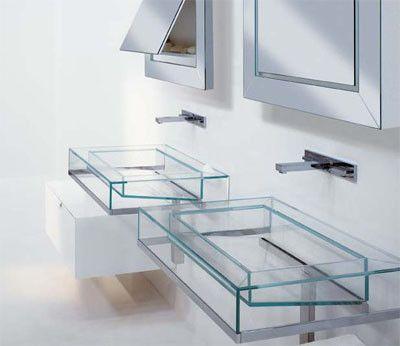 Muebles de ba o con lavabo de cristal para m s for Lavabo vidrio