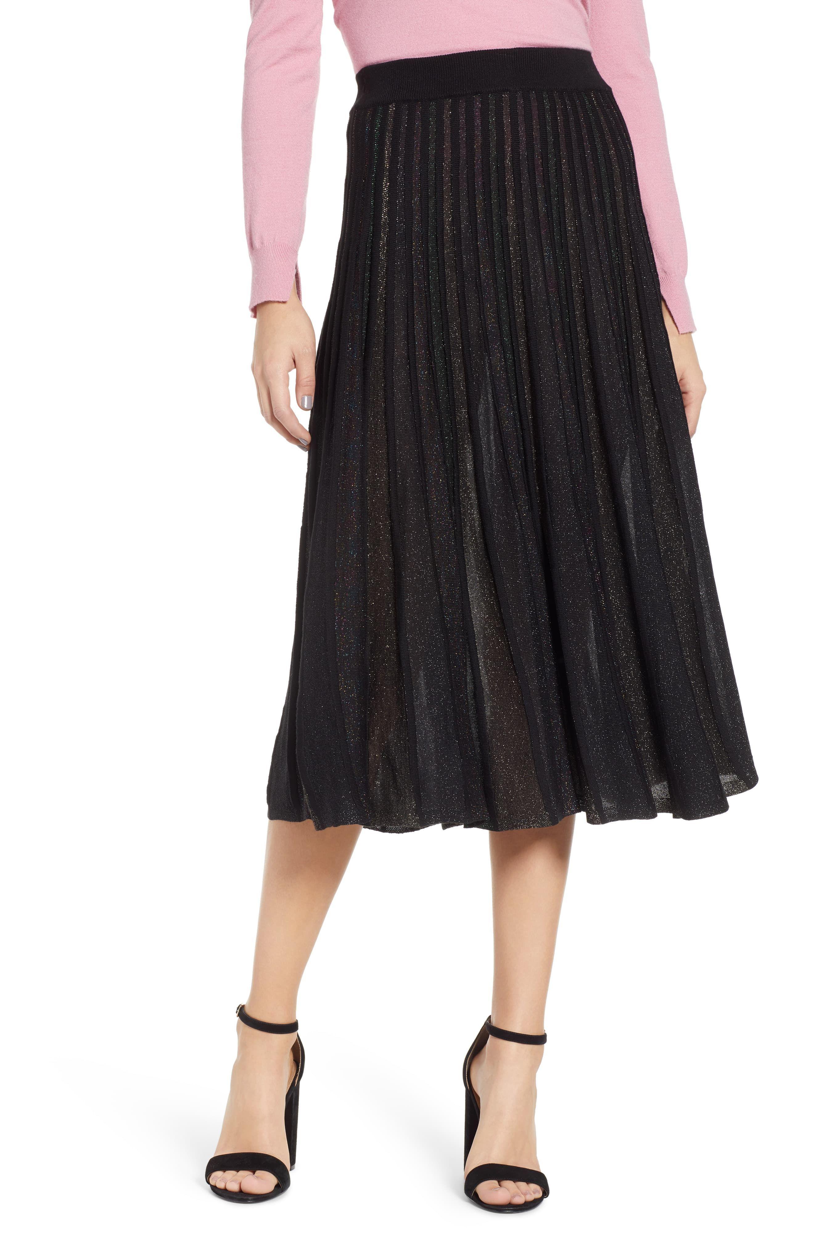 e509d4195 Women's Prima Sparkle Pleated Midi Skirt, Size Small - Black ...