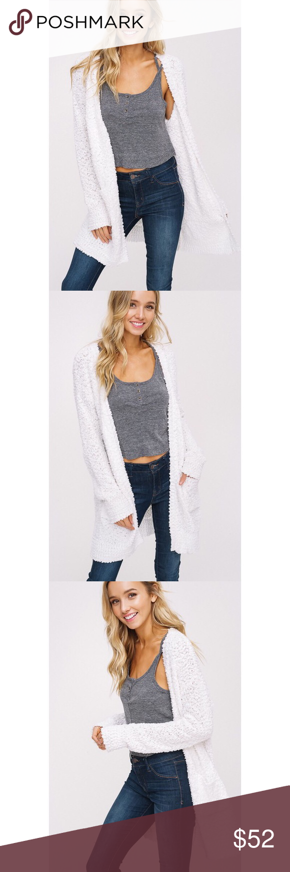 � Polly Popcorn Chunky Cardigan - Ivory You'll never want to take off this dream of a cardigan! Features a soft popcorn texture, drop shoulder with long sleeves, 2 front pockets. 100% Acrylic. ALSO AVAILABLE IN MOCHA AND MAUVE. likeNarly Sweaters Cardigans