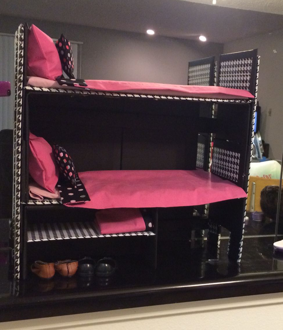 18 inch doll bunk bed, I used cardboard, duct tape, and