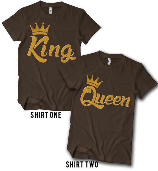 98b2c2ce7c Set of 2 t-shirts to celebrate your royal relationship. King for him Queen  for her.