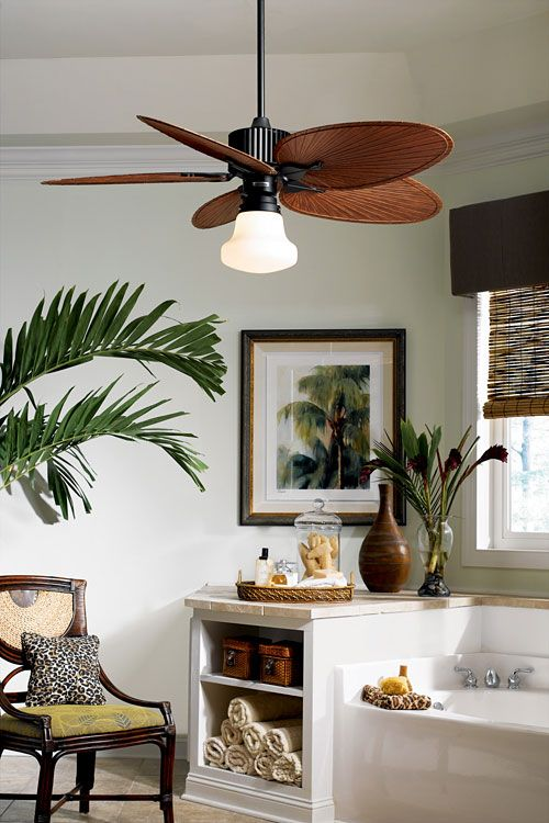 Love the fan and the vibe pinteres cool idea to have a ceiling fan in the bathroom mozeypictures Image collections
