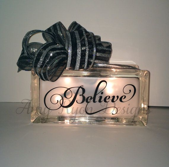Believe Glass Block Christmas Glass Block by AmyRyonDesigns