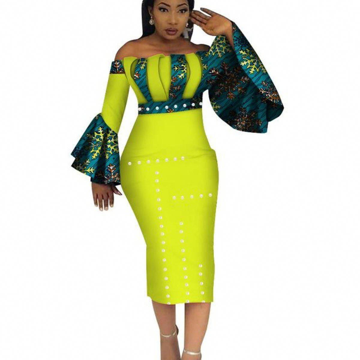 Dashiki Party Hot Vestidos For Women Cotton Print Mid-Calf African X11099