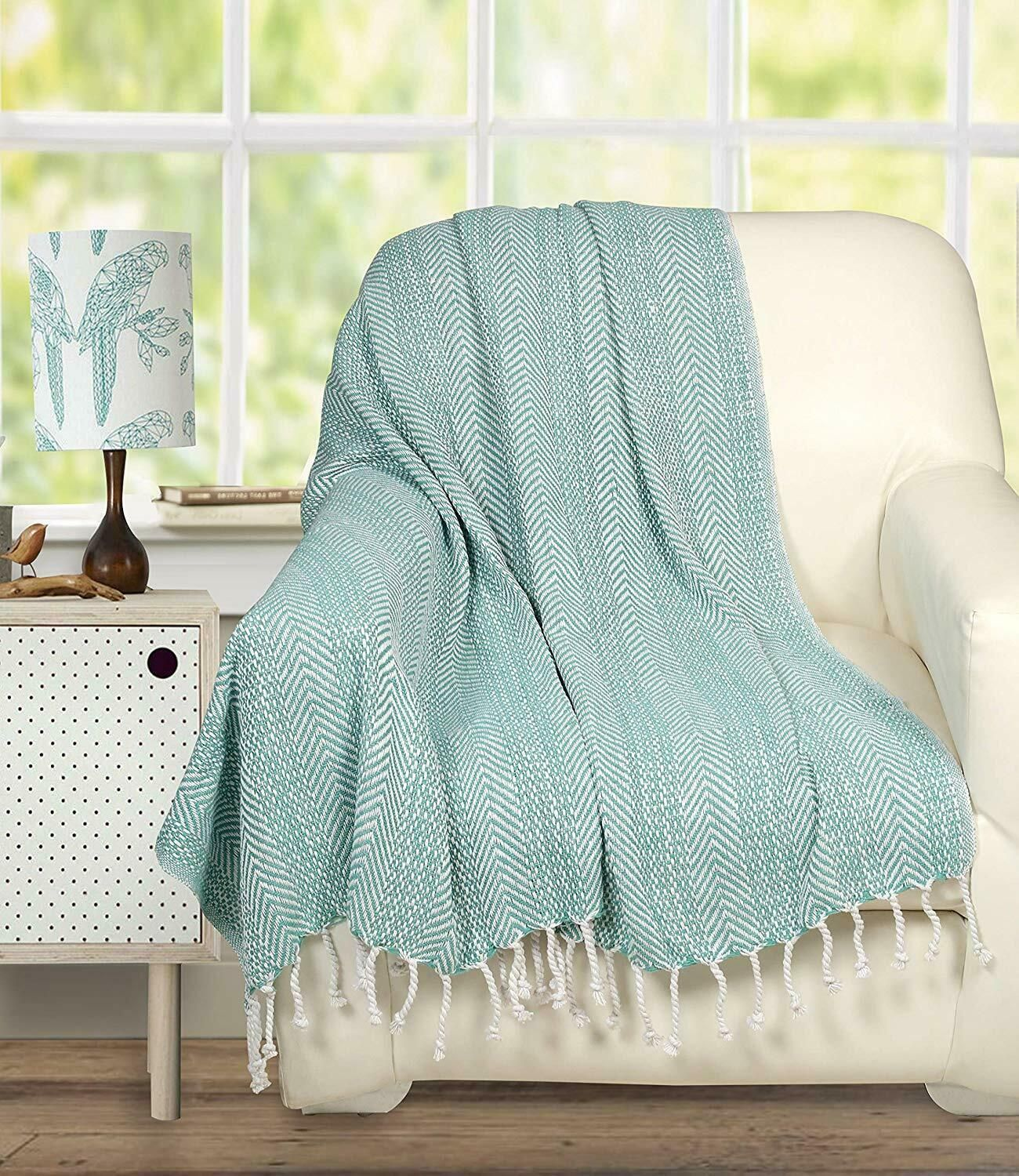 Cotton Chevron Blanket Throw With Knotted Fringes For Chair Couch