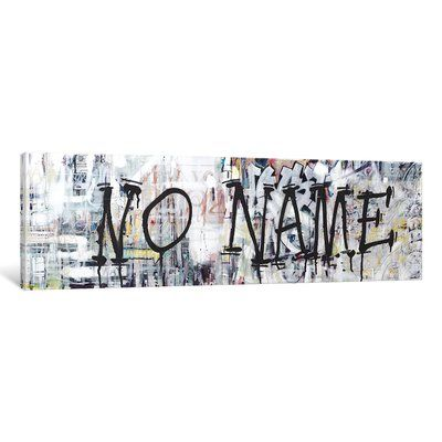 """East Urban Home 'Urbanites Series: (Where the Streets Have) NO NAME' Textual Art on Canvas Size: 16"""" H x 48"""" W x 1.5"""" D"""